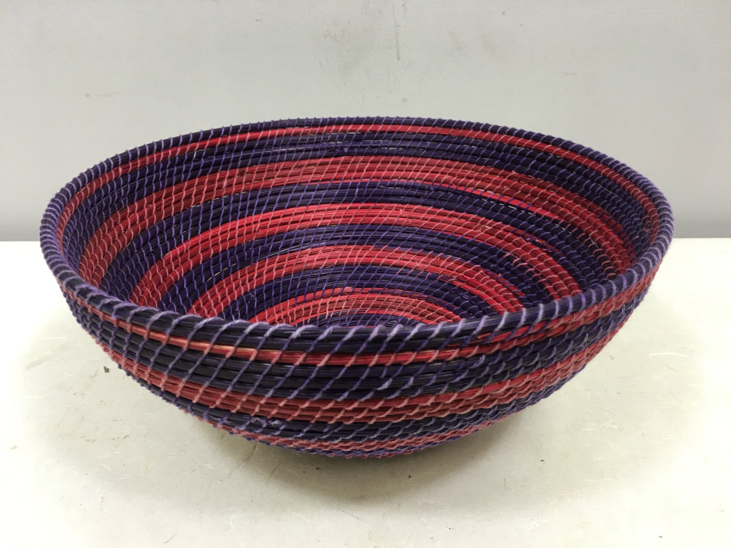 Handmade Baskets From Africa : Basket african lesotho purple red woven south africa handmade