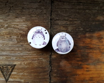Buy2get3 plugs Anime Totoro image ear wooden tunnels,4,5,8,10,12,14,16,19,25-60mm;6g,4g,2g,0g,00g;1/4,5/16,3/8,1/2,9/16,5/8,3/4,7/8,1 1/4""