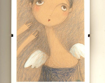 Original Soft Drawing-Angel-White Wings-Blue-Gray-White-Art for Girl