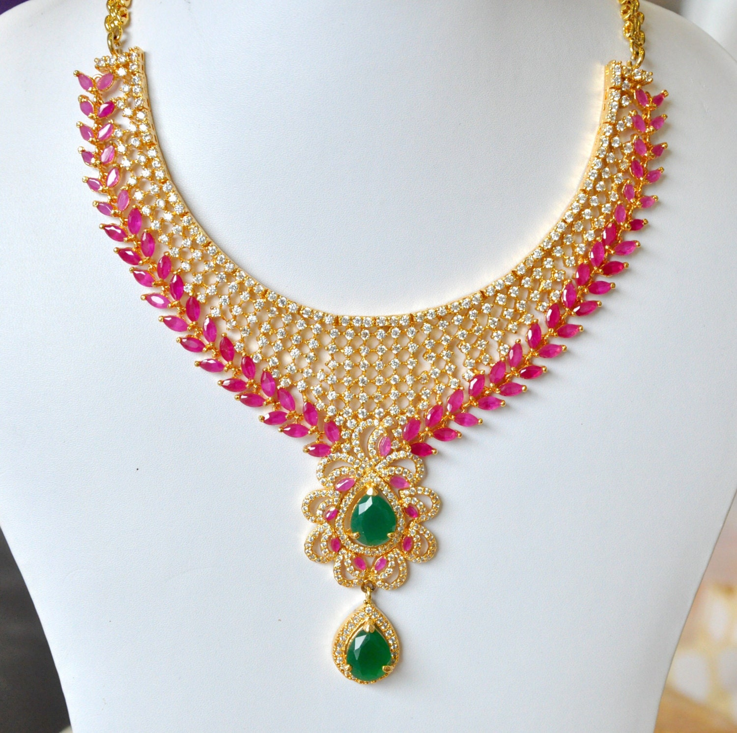 SALE 50% OFF American Diamond bridal Indian necklace set with