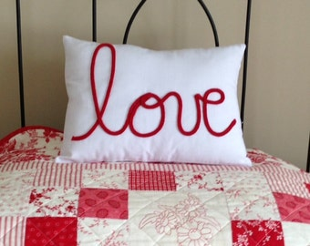 White and Red Love Lettering Pillow Cover