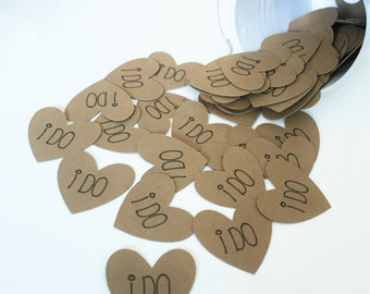 "Kraft Heart ""i do"" Confetti, 1"" Paper Hearts, Wedding Table Heart Confetti, Wedding/ Bridal Shower Decor"
