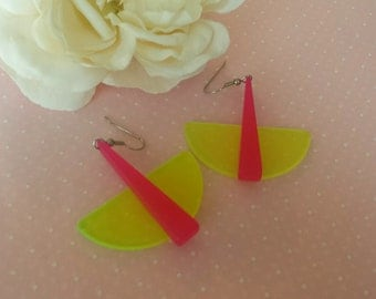 Vintage Mod Plastic Earrings Pink and Yellow Pierced Earrings Retro Earrings 1970 The Wild Vintage Rose