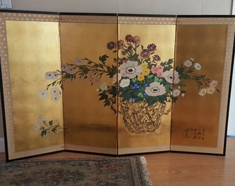Four Panel Japanese Byobu Folding Screen Silk Art Floral Flower Bouquet Painting Screen Divider Black Lacquer, Silk, Gold Leaf