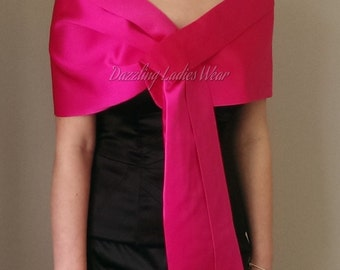 Pink Satin Shawl - UK 6-24/US 2-20 Wrap/Stole/Shrug/Tippet