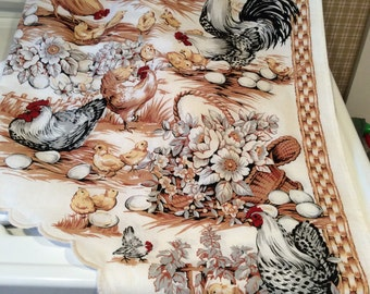 Valance swag. Valances. Curtains. French country.  Roosters.  Farm.