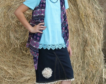 Girl's Mid Length Denim Skirt with Lace Flower Accent