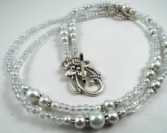 """Unique beaded ID holder lanyard necklace 32""""to 46"""" long badge holder bead chain , white pearls and crystals and larger silver plated  flower"""