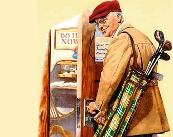 Norman Rockwell Print Title- Man Leaving Work to Go Golfing Painted in 1919-Vintage Art Decor- Perfect Wall Hanging For Your Home or office