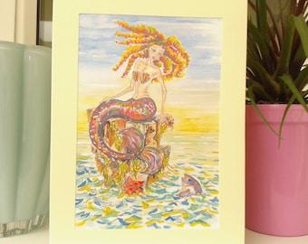Mermaid Print Greeting Card, Blank Mermaid Note Card, Birthday Card, Mermaid Drawing Art, Print Illustration, Fantasy Art, Mother's Day Gift