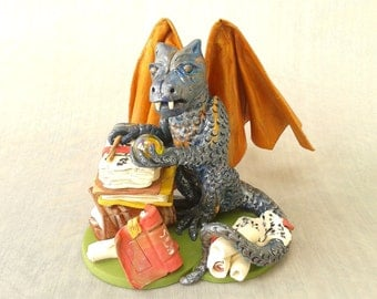 Polymer Clay Dragon Sculpture, Magic Dragon Ornament, Spell Casting Dragon Figure, OOAK Dragon Figurine, Dragon Cake Topper, Dragon Statue