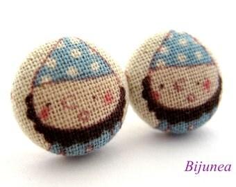Dwarf earrings - Dwarf Snow White stud earrings - Blue Dwarf studs - Dwarf posts - Dwarf post earrings sf938