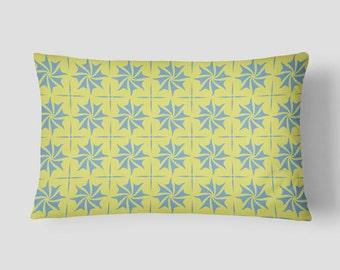 yellow lumbar pillow yellow blue pillow pattern cushion cover modern pillow cushion