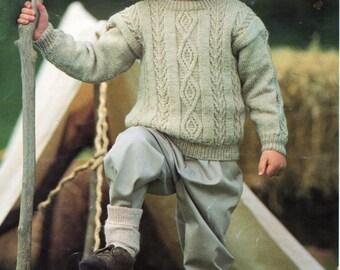 Vintage childs childrens aran cardigan knitting pattern pdf childrens aran sweater knitting pattern pdf download diamond chevron jumper crew 20 30 dk dt1010fo