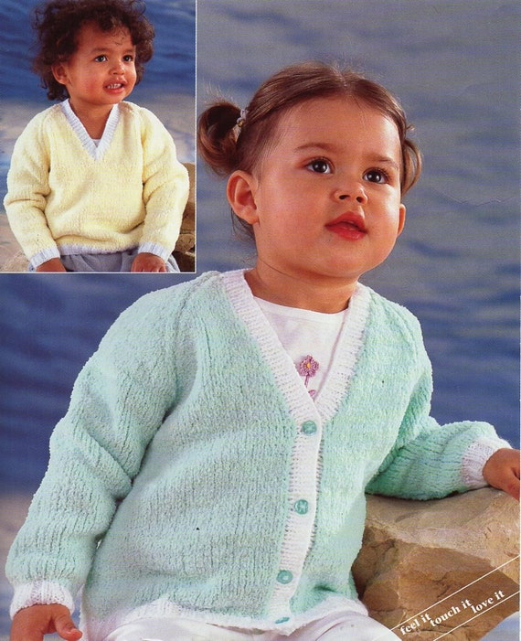 Baby Childrens Cardigan Sweater Knitting Pattern Pdf Chenille Jumper