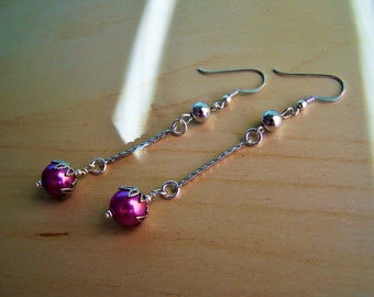 Sterling Silver Pink Rasbperry Swavorski Pearl Long Dangle Earrings  Silver plated accents