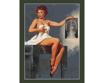 Pin Up X-Ray Girl by Gil Elvgren Counted Cross Stitch Pattern (10.43 x 14.29 in or 26.49 x 36.29 cm) download printable PDF file (4020)