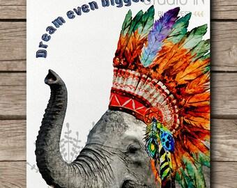 DREAM BIG, dream big little one, nursery wall art, kids room decor, elephant print, elephant kids room, instant download
