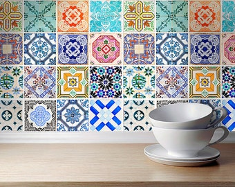 Traditional Spanish Tiles Stickers - Tiles Decals - Tiles for Kitchen Backsplash or Bathroom - PACK OF 32 - SKU:SpanishTiles