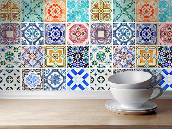 Traditional spanish tiles stickers tiles decals tiles for for Carrelage adhesif salle de bain avec deco avec led
