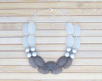Gray & Silver Statement Necklace - Chunky Multi Faceted Stone Bead Necklace - Big Bold Beads on Silver Chain Necklace, Faux Gemstone Jewelry