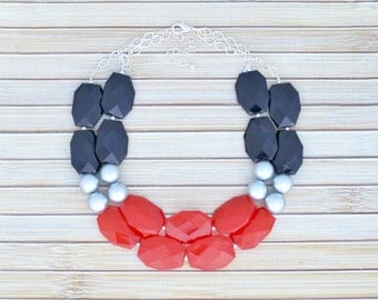 Red & Silver Big Chunky Statement Necklace - Lightweight Faux Gem Beaded Tier Necklace - Beadwork Multistrand Faceted Oval Bead Necklace