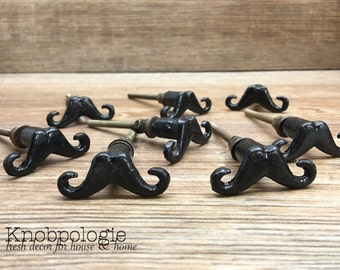 Clearance - Discounted Secondary Quality - Black Mustache Knobs