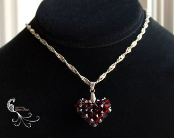 beaded beadwork necklace, swarovski crystal necklace, crystal pendant, beadweaving, beadwoven, necklace chain, heart necklace, heart pendant