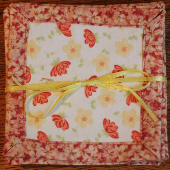 Coral Floral Fabric coasters set of 4