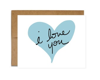 I Love You Card - Greeting Card - Love - Anniversary - Just Because - Wedding - Blank Card -