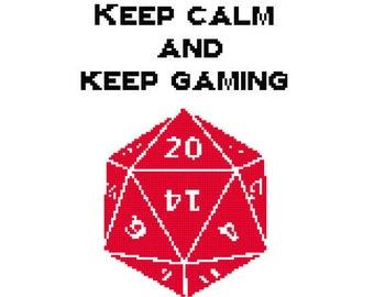 Keep Calm and Keep Gaming Cross Stitch PDF Pattern