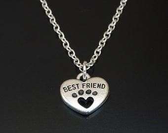 Dog Best Friend Necklace, Dog Paw Charm, Dog Paw Pendant, Dog Paw Jewelry, Dog Lover, Dog Memorial, Dog Jewelry, Dog Grandma, Dog Gifts