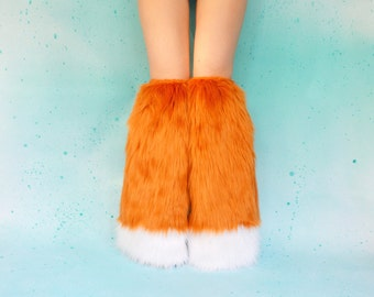 Fox Boot Covers : Fox Rave Costume, Fox Costume, FoxRave Fluffies, Boot Covers, Fur Leg Warmers, Furry Legwarmers, Fox Cosplay, Rave