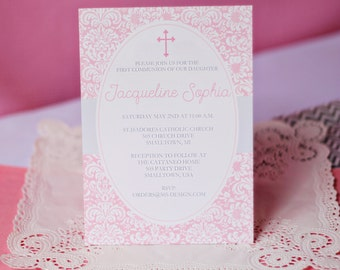 Pink First Communion Invitation INSTANT DOWNLOAD  - Printable Communion Invitation by Printable Studio