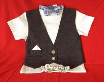 Vest Tshirt- Little gentleman shirt with bow tie