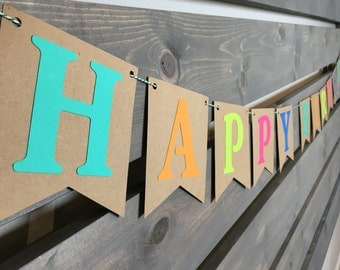Happy Birthday Banner || Kids Birthday Party || Birthday Party Decoration || Bright Party Decor || Neon Birthday