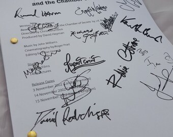Harry Potter and the Chamber of Secrets Film Movie Script with Signatures/Autographs Reprint