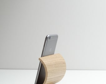 Stand smartphone, wooden iphone stand, Stand phone,i phone stand curved plywood, phone gift idea, oak