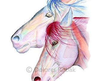 Horse Print Girls Room, Horse Watercolor Print, Gift for Girl, Horse Art Girls Room Wall Art Teen Girl, Tween Girl Gifts, Tween Room Decor