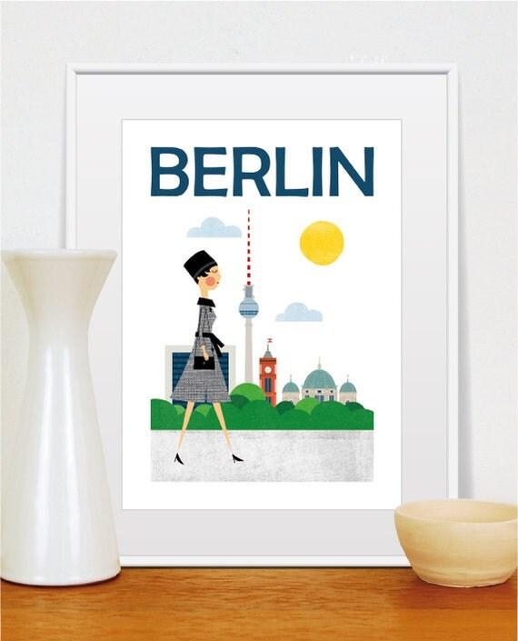 mid century modern travel print berlin city poster by tomasdesign. Black Bedroom Furniture Sets. Home Design Ideas