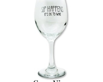 Wine Glasses, Funny, Glass, Sip Happens