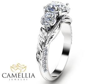 Three Stone Moissanite Engagement Ring 14K White Gold Moissanite Ring Wedding Engagement Ring