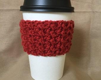 Dark Orange Handmade Crochet Coffee Cup Cozy