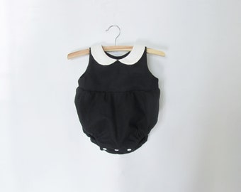 Black Rompers for Baby Boy & Girl, Linen Rompers, Toddler Clothing, Peter Pan Collar, Baby Outfit, Bubble Romper, Photo prop, Handmade