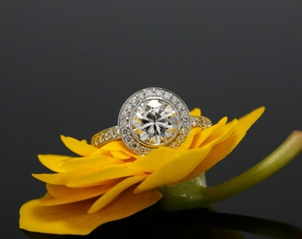 7.5mm Forever Brilliant Moissanite and Diamond Halo Engagement Ring in White Gold, Bezel Set (also avail. in rose, yellow gold and platinum)