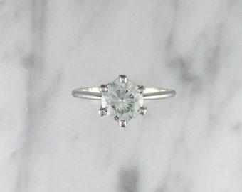 1.10 ct. VVS1 Round Blue Grey Moissanite Solitaire Platinum Engagement Ring - Affordable Engagement Ring - 6 Prong Petite Platinum Ring