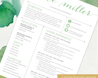 Resume Template CV Template for Word | 4 Pack + social media icons | The Kate Green| Custom Header | US Letter & A4 | Instant Download