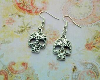 Sugar Skull Earrings, Skull Jewellery, Decorative Skull, Flower Skull, Day Of The Dead, Gothic Necklace, Skull Gift, Quirky Jewellery, Gift