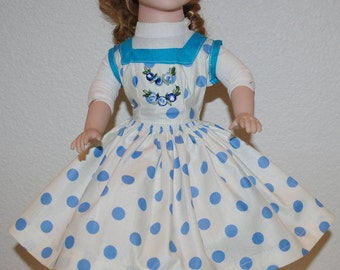 "Vintage Doll Dress, Vintage Doll Clothes, 1940's Handmade Dresses For a 16"" Doll Blue Polka Dotted Doll Dress, Cotton Doll Dress, Appliques"