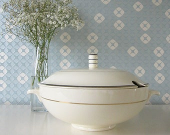 Vintage 1930s Societe Ceramique Maastricht Blue and Gold Tureen or Serving Dish